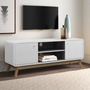 "Comoda TV 60 "" Justine din lemn, alb, 140 x 53 cm"