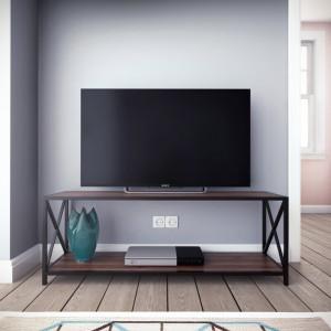 Comoda TV Altom, negru/maro, 119,38 x 45,72 x 33,02 cm