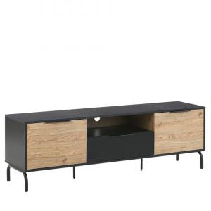 Comoda TV ARKLEY, PAL, neagra/maro, 52 x 160 x 41 cm