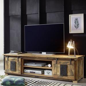 Comoda TV Mabe, lemn masiv, maro, 180 x 50 x 55 cm