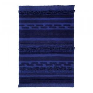 Covor lucrat manial, bumbac, albastru, 140 x 200 cm