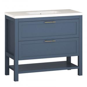 Dulap cu lavoar Gambill, albastru/alb, 88,5 x 101 x 46 cm