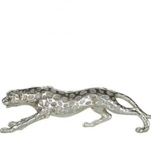 Figurina LEOPARD, polyresin, argintie, 50 x 9 x 14 cm