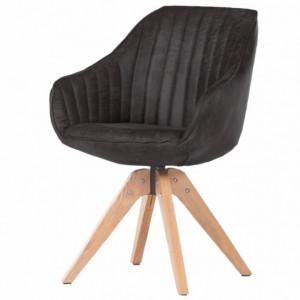 Fotoliu Ermelo III piele sintetica / stejar, negru, 60 x 83 x 65 cm