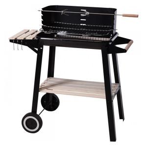 Gratar rectangular metal/lemn, negru, 54 x 34 x 6.5 cm