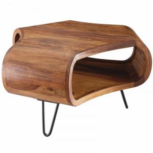Masa de cafea Antony, lemn masiv/metal, maro, 38 x 55 x 55 cm