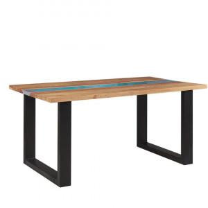Masa de living Riviera, lemn masiv, negru/maro/albastru, 77 x 90 x 160 cm