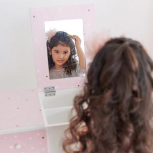 Masa de toaleta Morin cu oglinda, roz/ alb