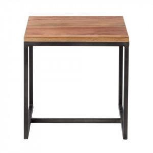 Masuta laterala Woodson lemn masiv de salcam/fier, maro/negru, 35 x 35 x 35 cm