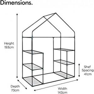 Mini sera cu 6 rafturi VonHaus, PVC, transparent, diametru 73 cm