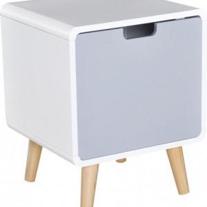 Noptiera din MDF alb lucios / gri, 40 x 50 cm