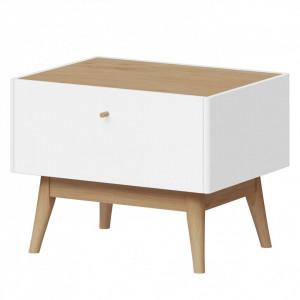 Noptiera Monteo I din lemn masiv de stejar/PAL, alb/maro, 55 x 42 x 42 cm