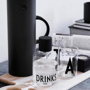 Pahar pentru apa, transparent/negru, 7 x 11 cm