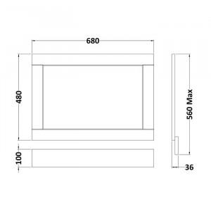 Panou de capăt pentru baie, 560 x 680 x 36 mm, gri