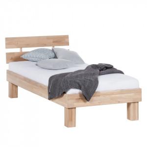 Pat single AresWOOD cu tablie, lemn masiv de stejar, maro, 96 x 75 x 196 cm