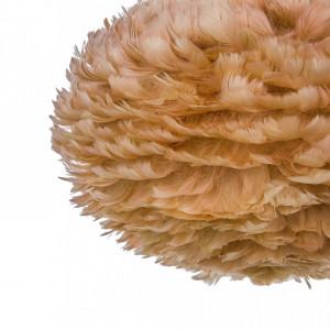 Pendul cu abajur din pene FOG, maro-bej, cablu alb, 45 x 30 cm