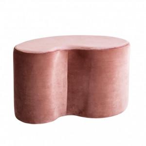 Puf Cloe din catifea roz, 80 x 46 cm