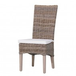 Scaun cu perna Luz ratan/lemn masiv/tesatura, gri, 46 x 104 x 51 cm