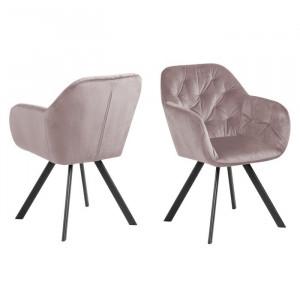 Scaun tapițat, roz/negru, 81,5 x 57,5 x 61,5 cm