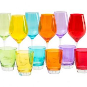 Set de 12 pahare Excelsa Happy Colour din sticlă, multicolor