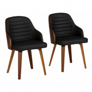 Set de 2 fotolii Duncan piele sintetica/lemn, negru/maro, 51 x 55 x 80 cm