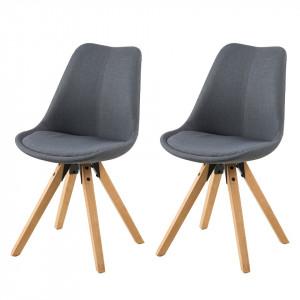 Set de 2 scaune Aledas II cu suport din lemn masiv gri inchis