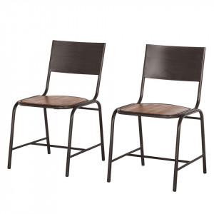 Set de 2 scaune Atelier salcam/metal, maro inchis, 47 x 90 x 50 cm