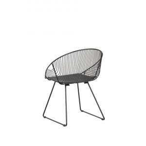 Set de 2 scaune AURORA, metal, negre, 65 x 54 x 77 cm