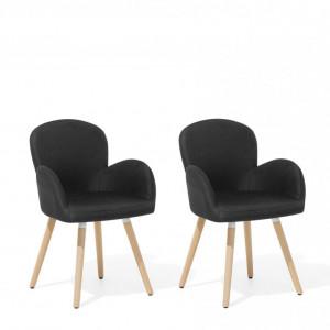 Set de 2 scaune Brookville, negre, 44 x 52 x 83 cm