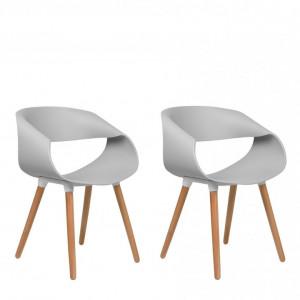 Set de 2 scaune Charlotte, gri/maro, 55 x 39 x 78 cm