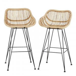 Set de 2 scaune de bar Beaconsfield, maro/negru, 97 x 52 x 52 cm