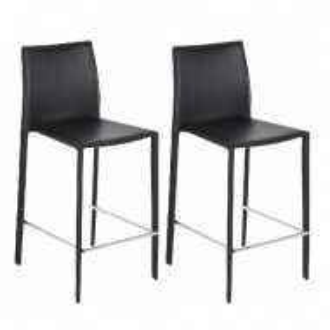 Set de 2 scaune de bar Boréalys din piele, negru