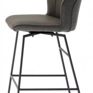 Set de 2 scaune de bar Macapa piele sintetica/tesatura /otel, gri, 46 x 116 x 58 cm