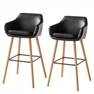 Set de 2 scaune de bar Nicholas I din piele sintetica neagra