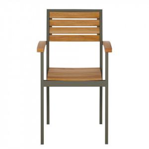 Set de 2 scaune de terasa Lanai, lemn masiv de salcam/metal