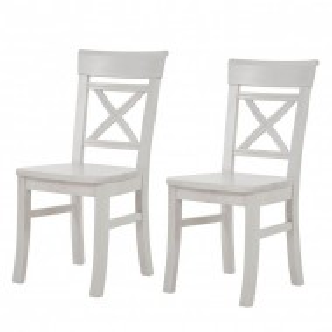 Set de 2 scaune Fjord din lemn masiv de pin nordic, alb