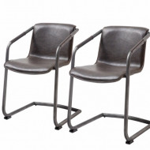 Set de 2 scaune Herne piele sintetica/otel pulverizat, maro, 53 x 77 x 60 cm