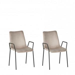 Set de 2 scaune Jefferson, negru/taupe, 57 x 60 x 87 cm
