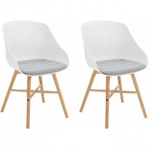 Set de 2 scaune Ken, tesatura/lemn, alb/gri/maro, 50 x 54 x 81 cm