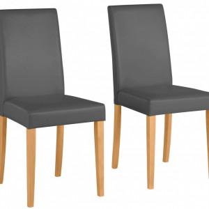 Set de 2 scaune Lucca piele sintetica/lemn masiv de pin, gri , 43 x 56 x 92 cm