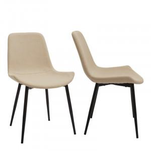 Set de 2 scaune Moon, tapitate, bej/negru, 82 x 48 x 44 cm