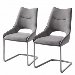 Set de 2 scaune Nidri tesatura / otel inoxidabil, gri deschis, 62 x 96 x 53 cm