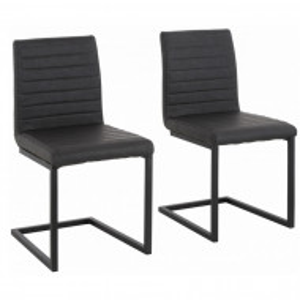 Set de 2 scaune Sabine piele sintetica/metal, negru, 54 x 59 x 87 cm