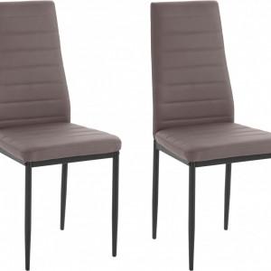 Set de 2 scaune Sandy, piele sintetica/metal, maro, 42 x 53 x 96 cm