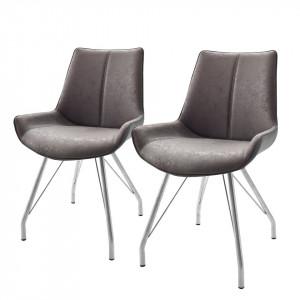 Set de 2 scaune Saval cu cadru metalic si tapiterie din piele sintetica, gri