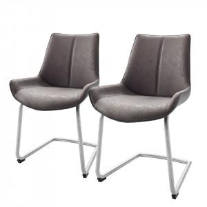 Set de 2 scaune Saval piele sintetica/otel inoxidabil, gri, 54 x 89 x 60 cm