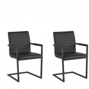 Set de 2 scaune tapitate Buford, negru, 52 x 54 x 87 cm