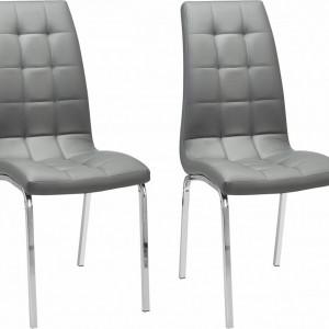Set de 2 scaune tapitate Lila gri/argintiu