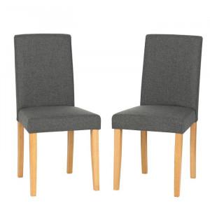 Set de 2 scaune tapitate Lina, Gri, 90 x 43 x 51 cm