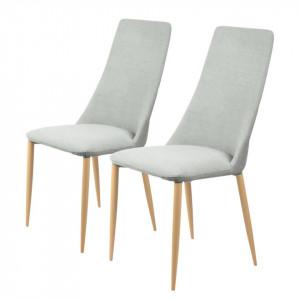 Set de 2 scaune tapitate Unja tesatura/metal, gri deschis, 47 x 96 x 57 cm